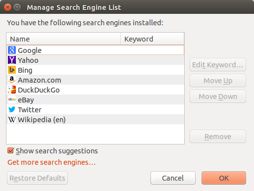 Mozilla Firefox - Manage Search Engines