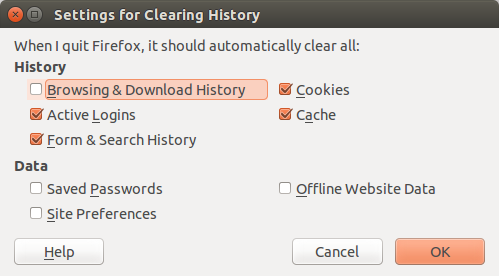 Mozilla Firefox - Preferences - Privacy - History - Settings for Clearing History