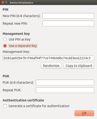 YubiKey PIV Initialization - Using a separate Management Key